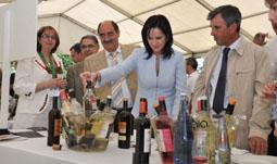 De izquierda a derecha, la 'Dama Blanca'; el alcalde de Rueda; el alcalde de Medina del Campo; la consejera y el presidente de la DO Rueda