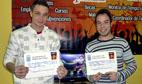 Simón Oyagüe y Santiago Fernández, ganadores del I Torneo Pro Evolution Soccer de Medina del Campo