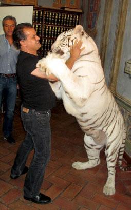 Un representante del Circo Kaos esta mañana, durante la presentación de la campaña, acompañado de un tigre blanco.