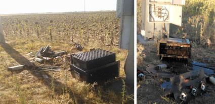 Destrozos en material eléctrico de una de las explotaciones de la comarca asaltadas.